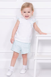 White Pointelle Bow Top And Mint Green Shorts - Jacob Matthews