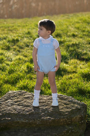 White Star Top With Blue Knitted Romper - Jacob Matthews