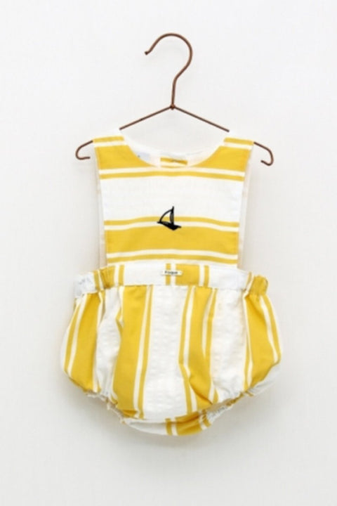 Yellow Stripe Sailboat Romper - Jacob Matthews