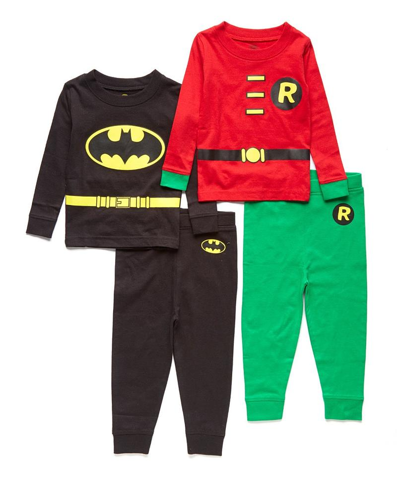 DC Comics Batman and Robin Toddler 4 Piece Cotton Pajama Set