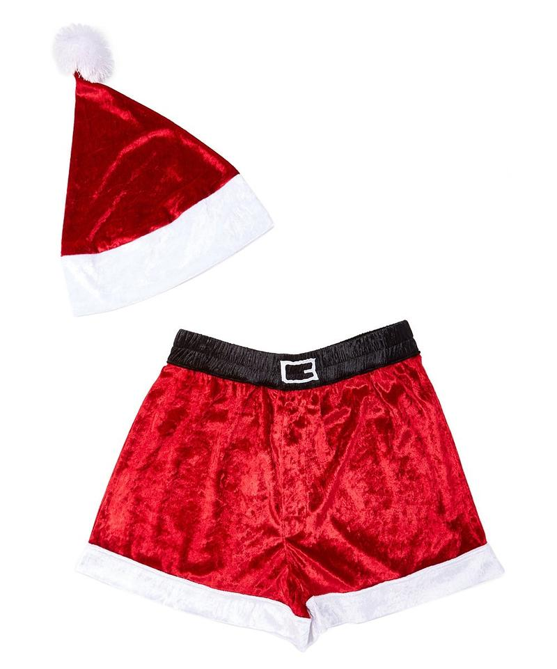 Mens Santa Faux Crushed Boxers with Hat