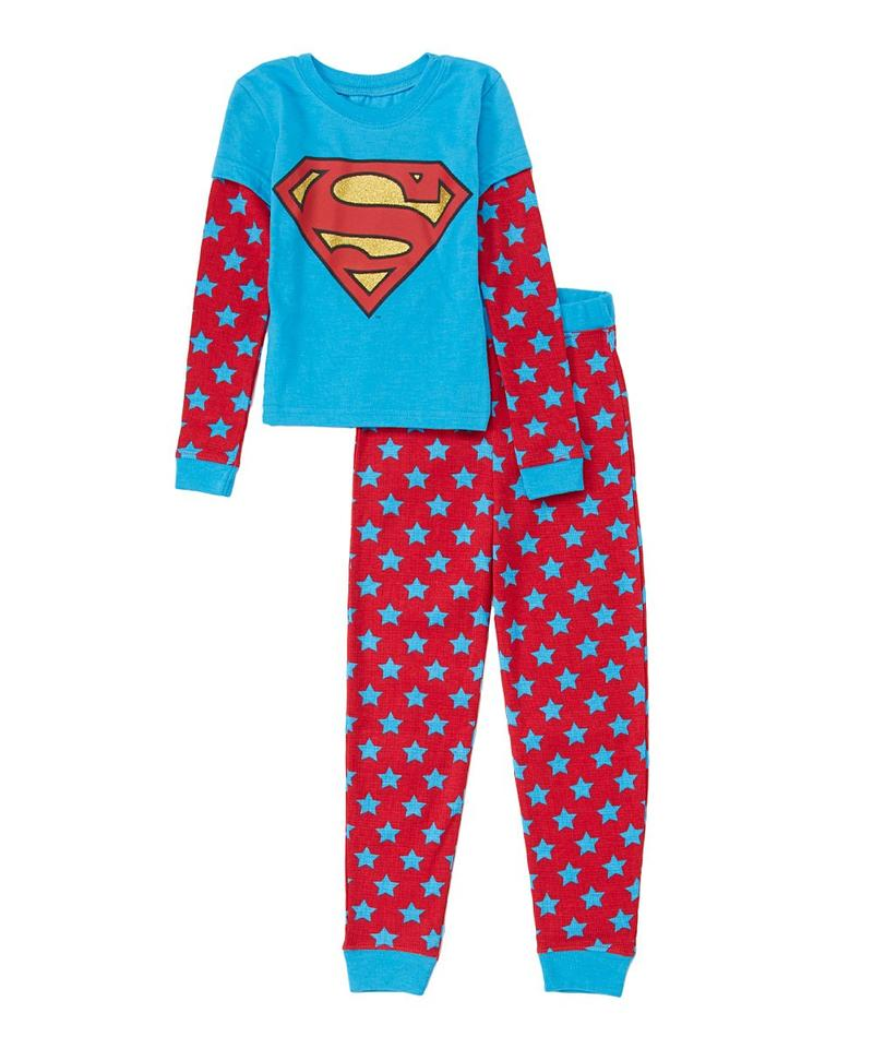 Supergirl Girls Thermal Waffler Pajama Set