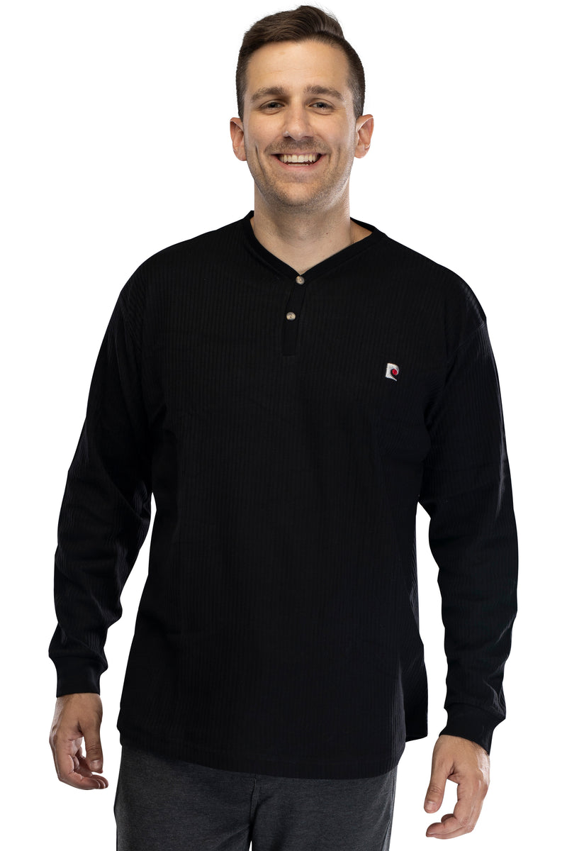 Mens Long Sleeve Cotton Rib Henly Lounge Top