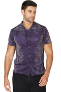 Mens' Animal Print Sparkle Button Up Sleep Shirt