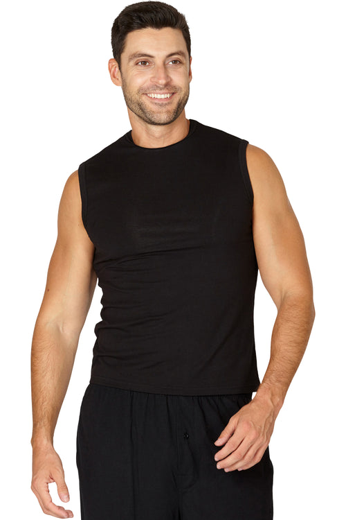 INTIMO Mens Solid Muscle SleevelessTop Shirt