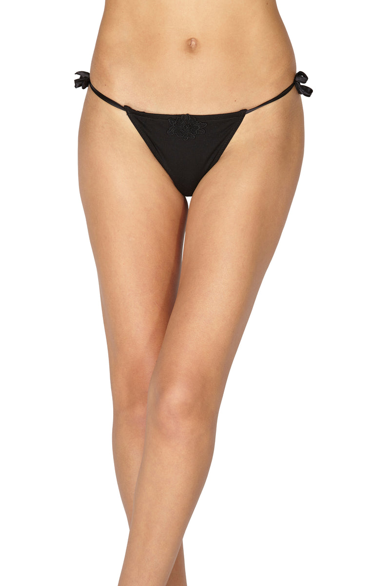 Intimo Women's Knit Thong Panty With Medallion