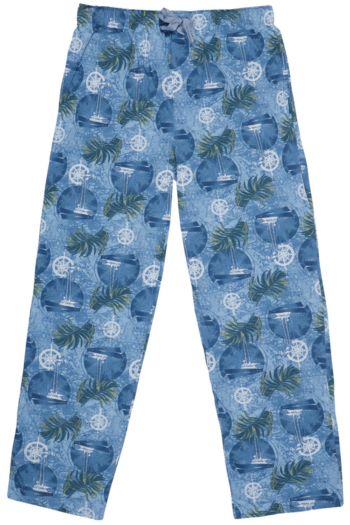 Caribbean Joe Mens' Sailboat Print Pajama Pants
