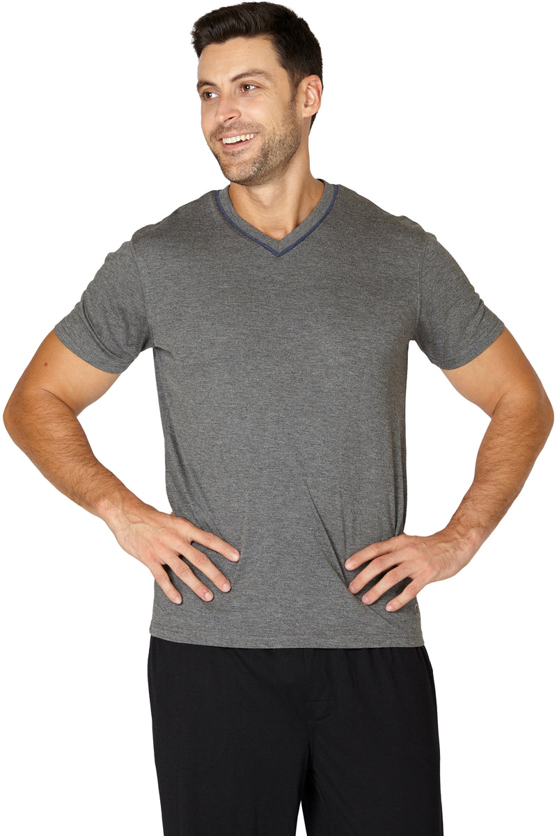 Men's Soft Knit Comfy V Neck Sleep Top