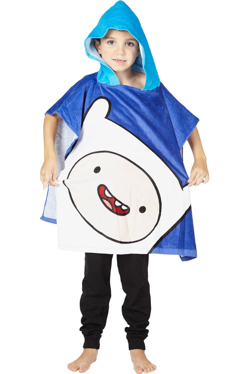 Adventure Time Finn Character Terry Cotton Velour Hooded Poncho