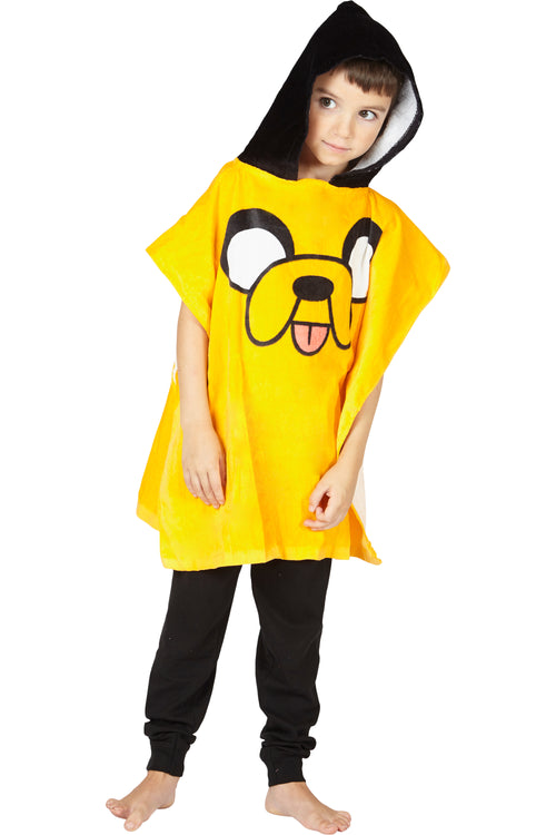 Adventure Time Jake Hooded Bath Beach Swim Poncho Towel, Yellow, 4-7