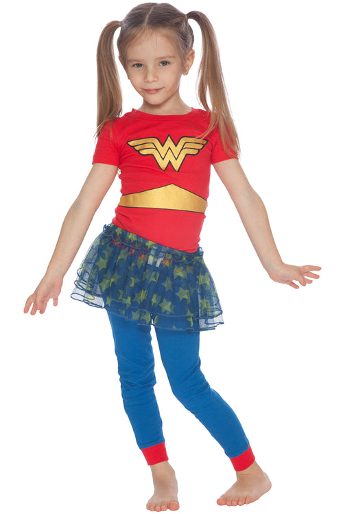 DC Comics Wonder Woman 3 Piece Short Sleeve Infant and Toddler Tutu Pajama Set