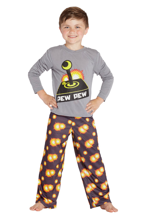 Boys Pew Pew Video Game Long Sleeve Pajama Set
