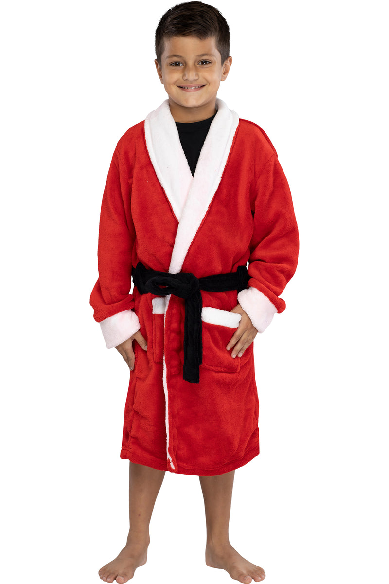 Boys' Red Santa Plush Bathrobe
