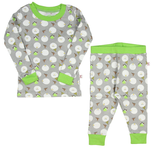 Intimo Boys Holiday Snowman All Over Print Cotton Tight Fit Pajama Set