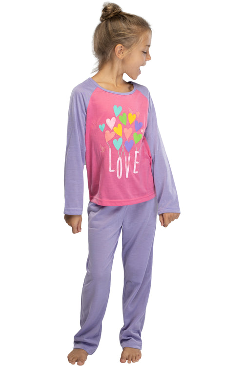 INTIMO Girls Chloe & Olivia Love Pajama Set