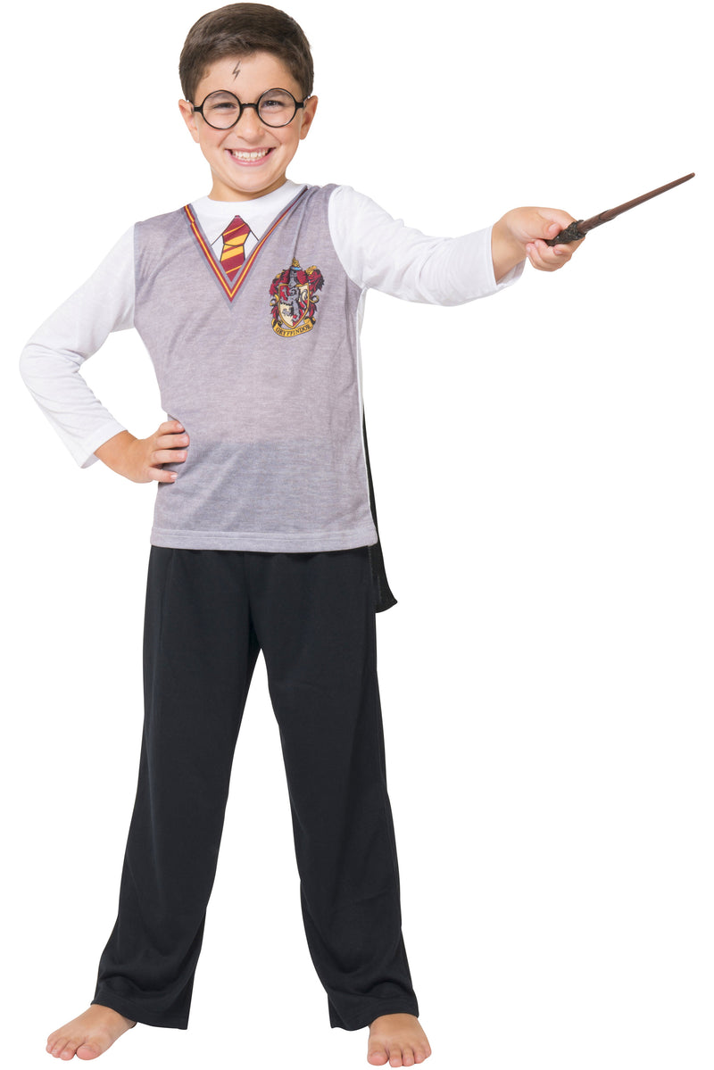 Intimo Harry Potter Big Boys Gryffindor Uniform With Cape 3 Piece Pajama Set
