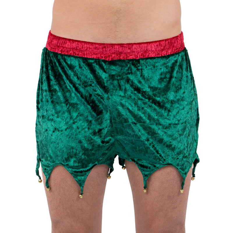 Max Deco Green Velvet Elf Boxers Holiday Boxer Shorts with Jingle Bells