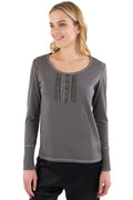 INTIMO Womens Ruffle Henley Pajama Sleep Top