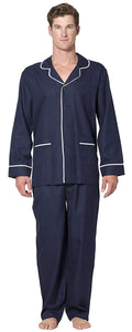 Intimo Mens Herringbone Long Pajama Set with Piping