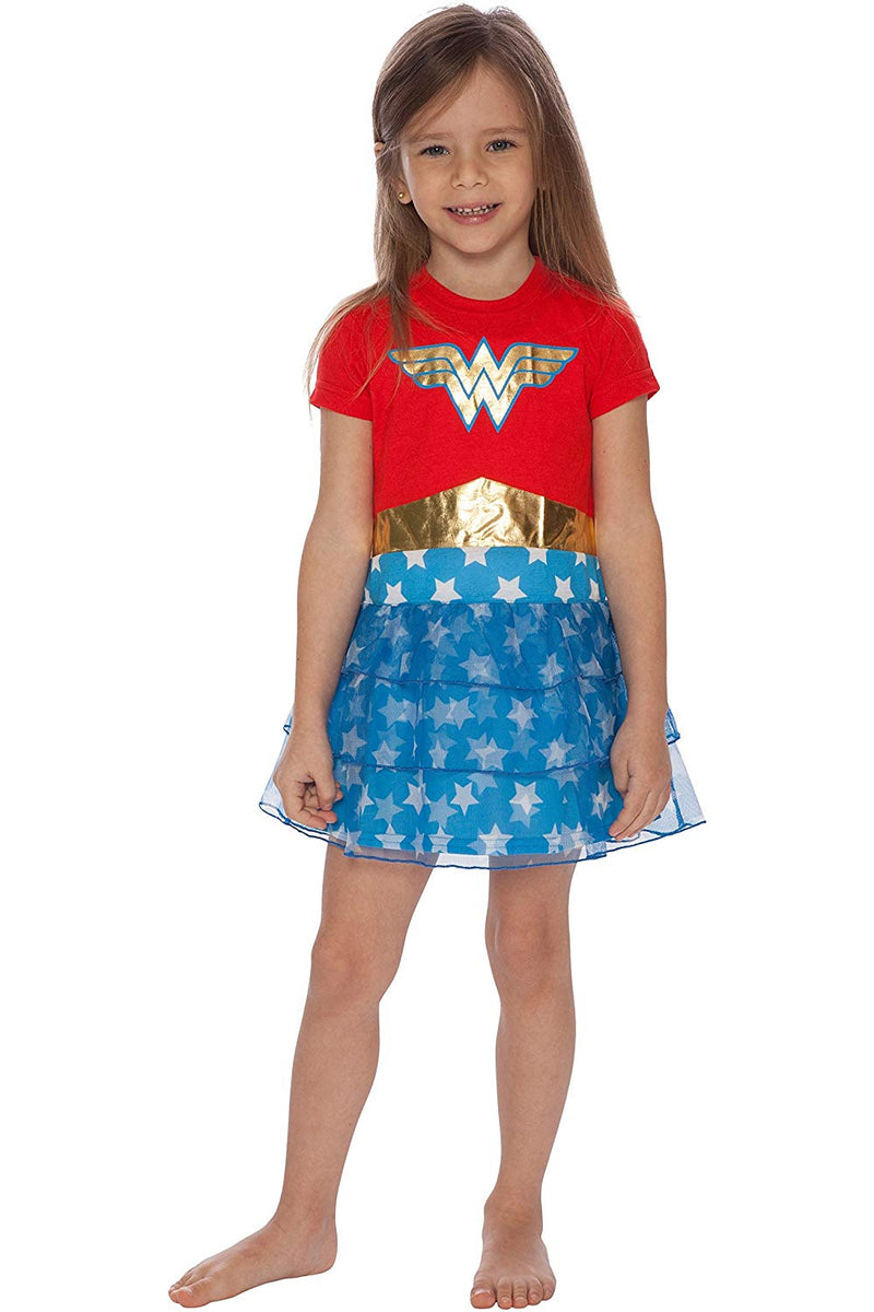 DC Comics Girls Wonder Woman Gold Foil Logo 3 Tiered Costume Pajama Nightgown