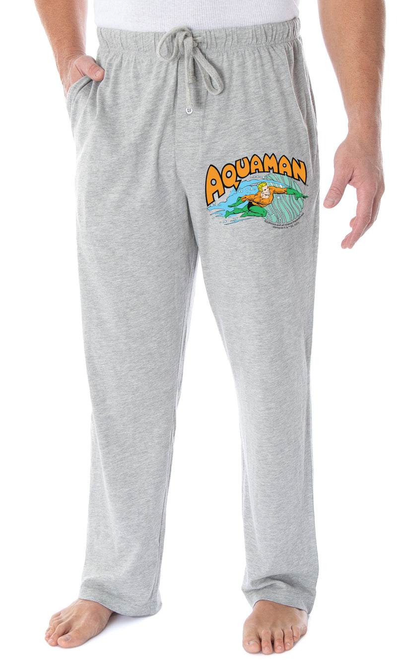 DC Comics Men's Vintage Aquaman Character And Logo Classic Superhero Loungewear Pajama Pants