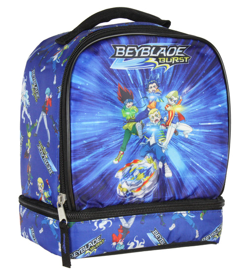 Beyblade Burst Spinner Top Anime Characters Dual Compartment Insulated Lunch Box Bag Tote