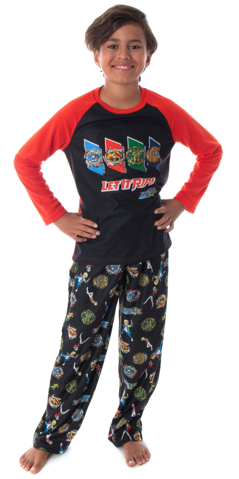 Beyblade Burst Boys' Spinner Tops Fafnir Let It Rip! 2 Piece Shirt And Pants Kids Pajama Set