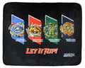 "Beyblade Burst Spinner Tops Let It Rip! Fafnir Ace Dragon Erase Devolos Plush Fleece Throw Blanket 48"" x 60"""