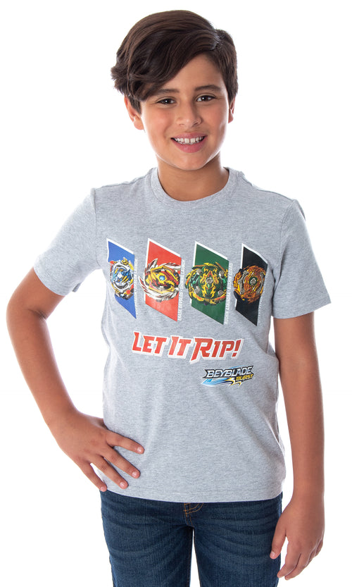 Beyblade Burst Boys' 4 Spinner Tops Wizard Fafnir Ace Dragon Erasre Delvos Let It Rip! T-Shirt