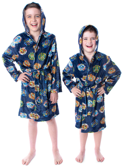 Beyblade Burst Boys' Spinner Tops Graphic Fleece Plush Hooded Robe Bathrobe