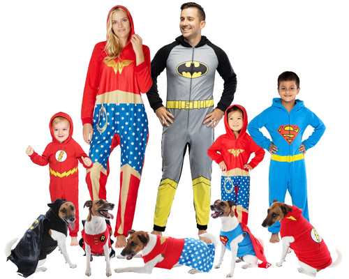 DC Comics Justice League Superhero Matching Family Costume Pajamas For Men, Women, Girls, Boys, And Pets