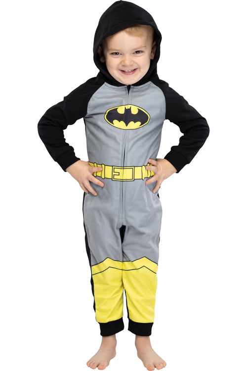 DC Comics Toddler Kids Superhero Character Hooded Union Suit Footless Pajamas Costume