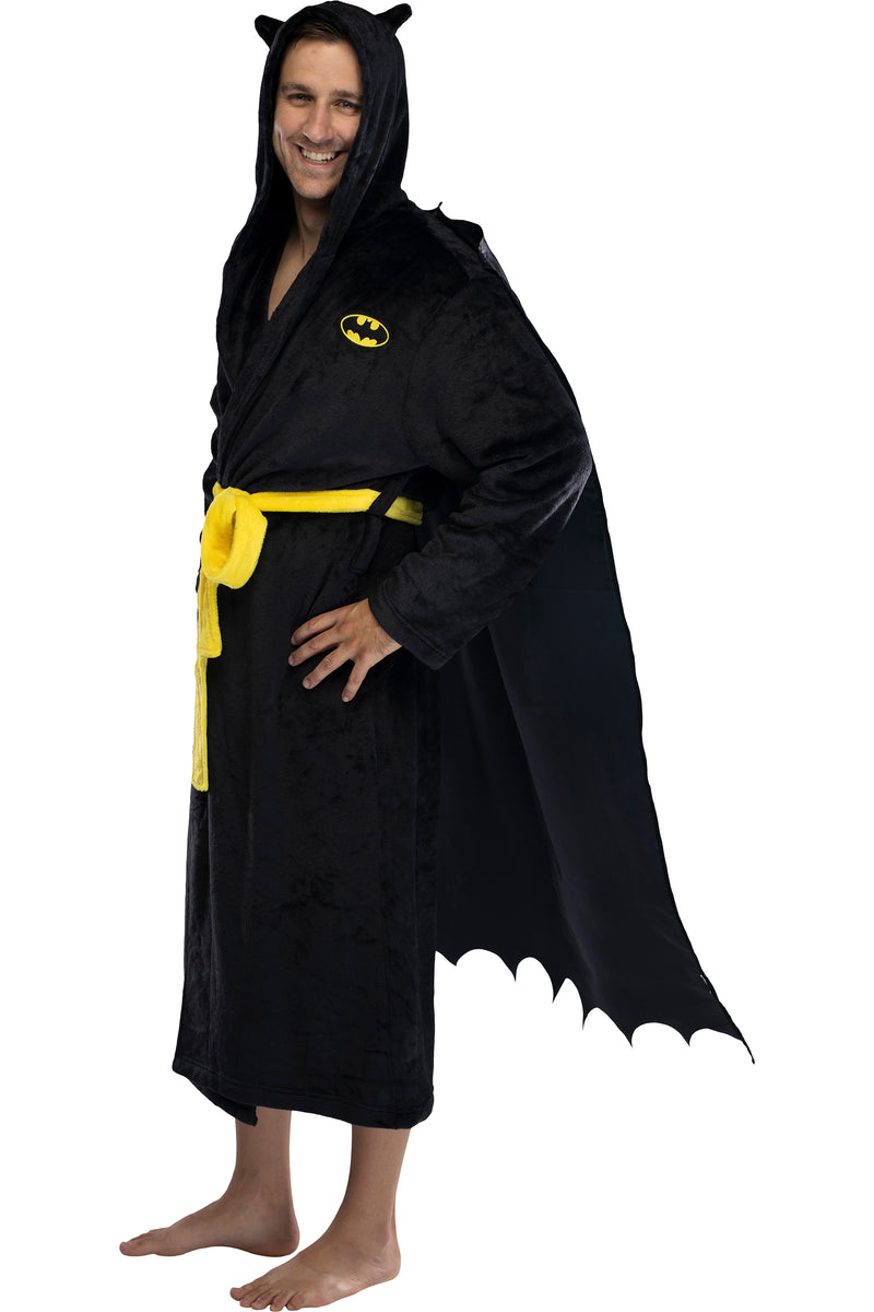 DC Comics Adult Superhero Embroidered Fleece Hooded Robes For Men