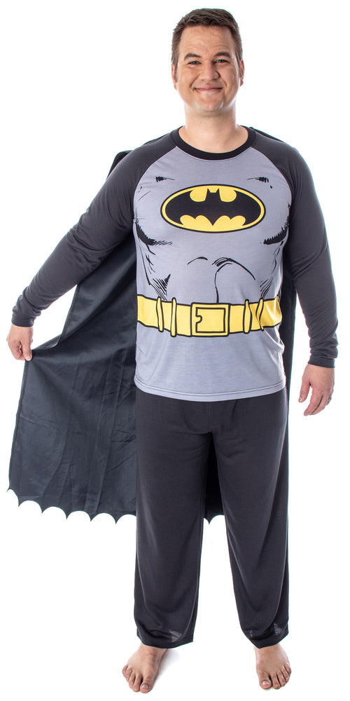DC Comics Men's Batman Classic Superhero Costume Raglan Shirt And Pants Pajama Set with Detachable Cape