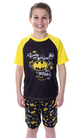 DC Comics Boys' Batman Pajamas Ready For Action Short Sleeve Shirt and Shorts 2 Piece Superhero Pajama Set