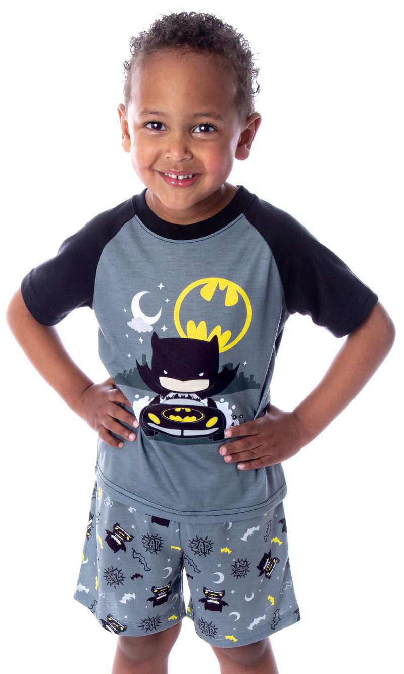 DC Comics Toddler Boys' Batman Pajamas Batmobile Night Riding Shirt and Shorts 2 Piece Superhero Pajama Set