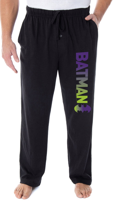 DC Comics Men's Batman Pajama Pants Ombre Script Logo Loungewear Sleep Pants