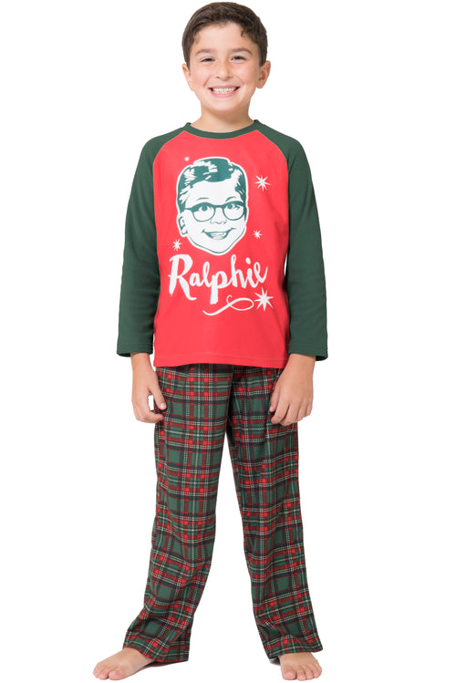 A Christmas Story Boys Ralphie Glasses Triple Dog Dare You Christmas Holiday Plaid Pajama Set