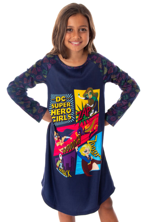 DC Super Hero Girls Wonder Woman Supergirl Raglan Sleep Shirt Pajama Nightgown For Girls