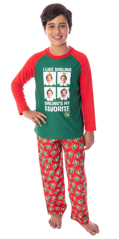 Elf The Movie Boys' Buddy I Like Smiling, Smiling's My Favorite Raglan Shirt And Pants 2 Piece Pajama Set