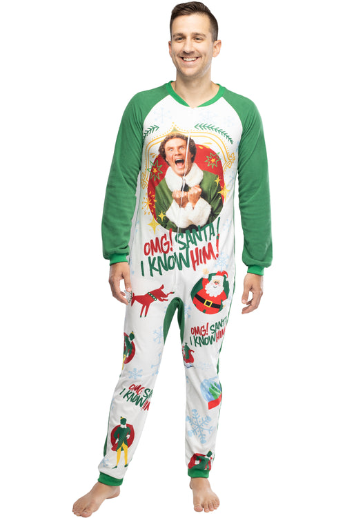 Elf The Movie Men's OMG Santa! I Know Him! One-Piece Sleeper Pajama Union Suit