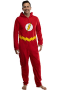 DC Comics Mens' Superhero Character Hooded Union Suit Footless Pajamas Costume