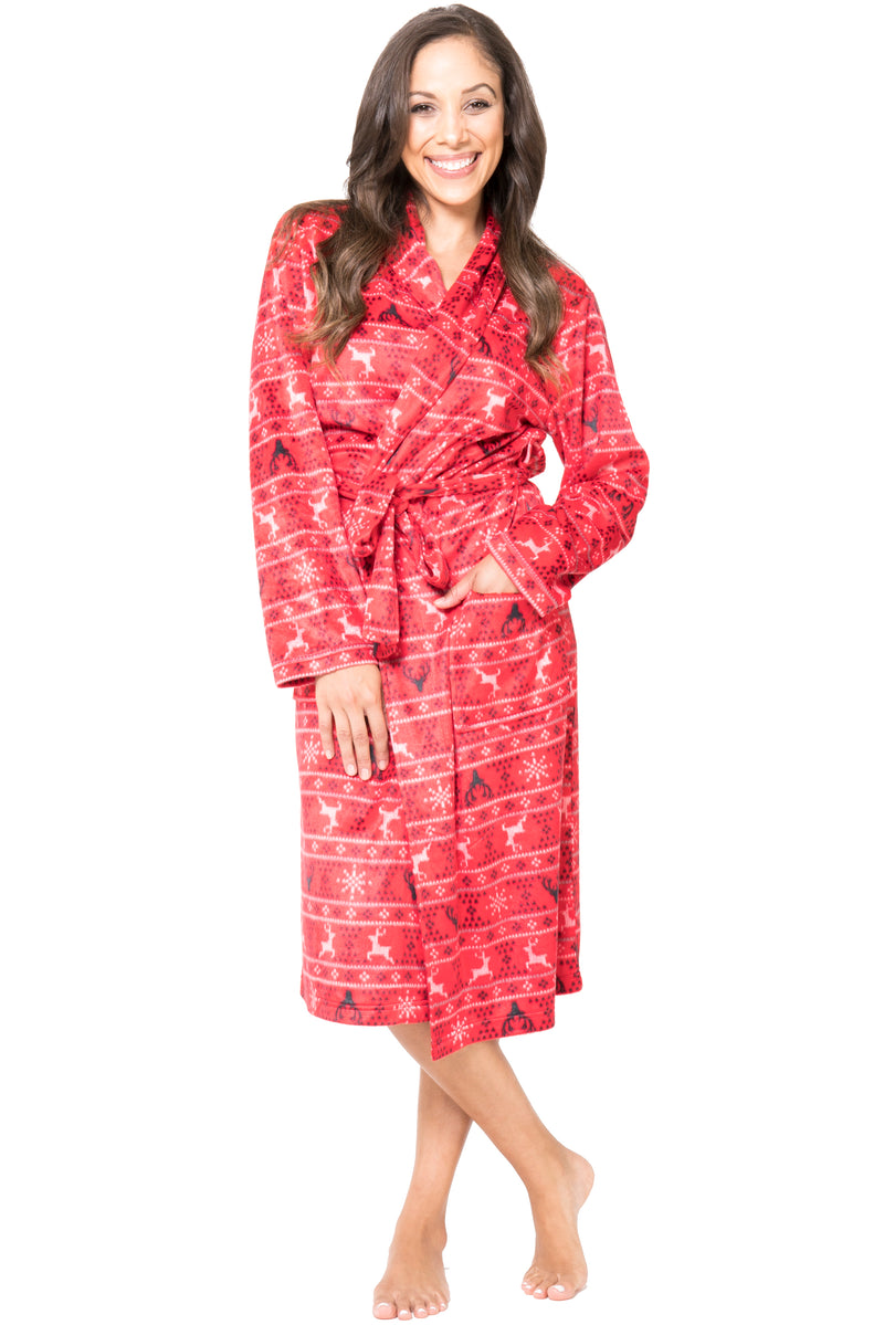 Intimo Womens Bathrobe Famjammies Deer Fair Isle Fleece Robe