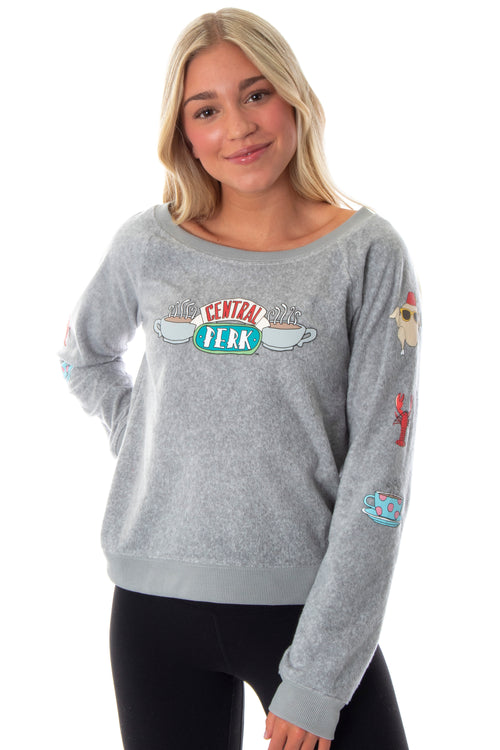 Friends TV Show Cafe Central Perk Logo Juniors' Fleecy Soft Loungewear Long Sleeve Pajama Top