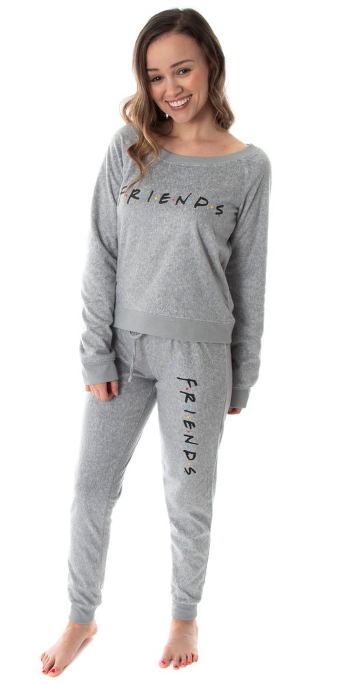 Friends TV Show Logo Juniors' Comfy Long Sleeve Top And Pants 2 Piece Jogger Pajama Set