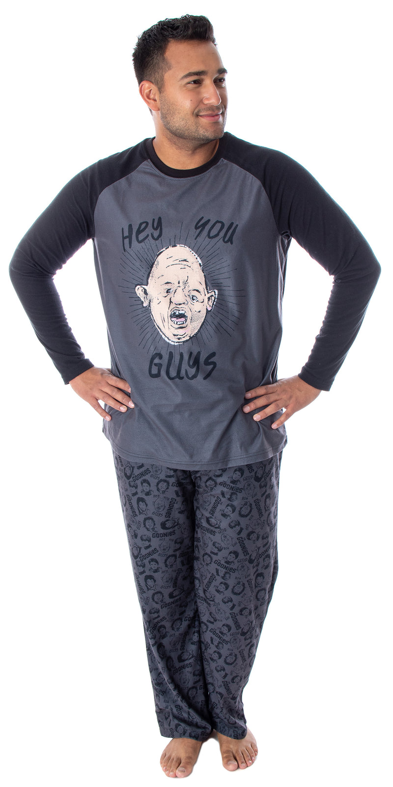 The Goonies Men's Sloth Hey You Guys Super Soft Raglan Shirt And Pants 2 Piece Pajama Set