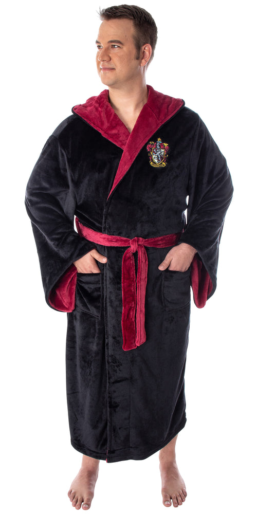 Harry Potter Adult Fleece Plush Hooded Robe - Big and Tall - Gryffindor, Slytherin, Ravenclaw, Hufflepuff, Hogwarts