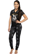 Harry Potter Women's Juniors Hogwarts Castle Crest Foil Print Jogger 2 Piece Pajama Set