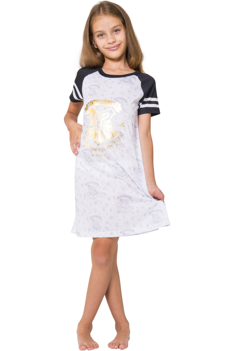 Harry Potter Pajama Hogwarts Gold Crest Short Sleeve Raglan Nightgown