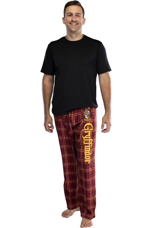 Harry Potter Adult Mens' House Crest Plaid Pajama Pants - All 4 Houses Gryffindor, Ravenclaw, Slytherin, Hufflepuff